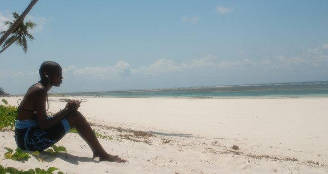 Girl on Kenya beach