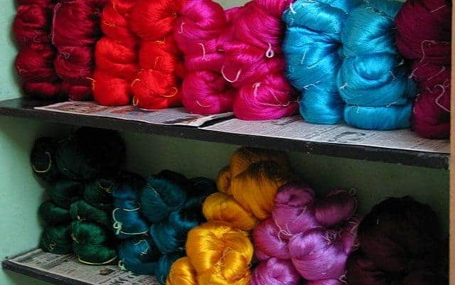 Silk yarn waiting to be made into saris
